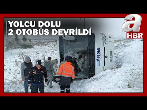 Konya'da Korkunç Kaza! 2 Tur Otobüsü Devrildi! / A Haber