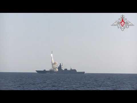 Пуск гиперзвуковой ракеты «Циркон» с борта фрегата «Адмирал Горшков» в Баренцевом море