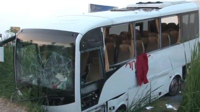 Автобус сроссийскими туристами попал вДТП