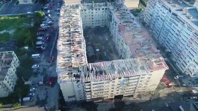 Пожар в многоэтажке в Краснодаре